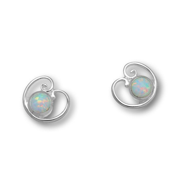 Flourish Silver Earrings SE395 White Opal