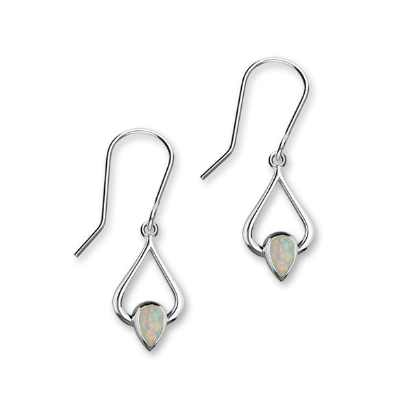October Birthstone Silver Earrings SE399 White Opal