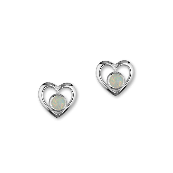 Sterling Silver & White Opal Heart Stud Earrings, SE357