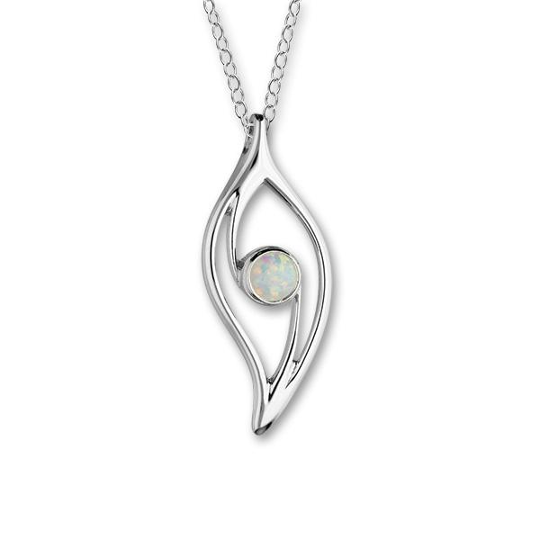 Harlequin Silver Pendant SP271 White Opal
