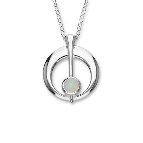 Harlequin Silver Pendant SP272 White Opal