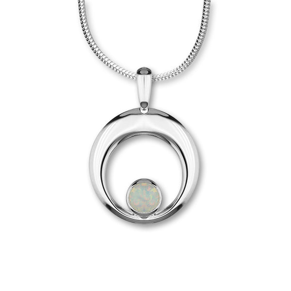 Harlequin Silver Pendant SP273 White Opal