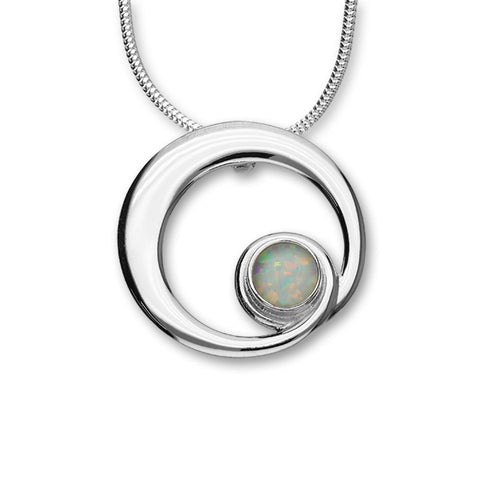 October Birthstone Silver Pendant SP278 White Opal