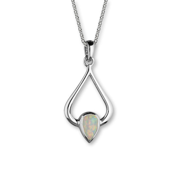 October Birthstone Silver Pendant SP296 White Opal