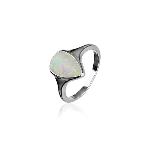 Sahara Sunset Silver Ring SR170 White Opal