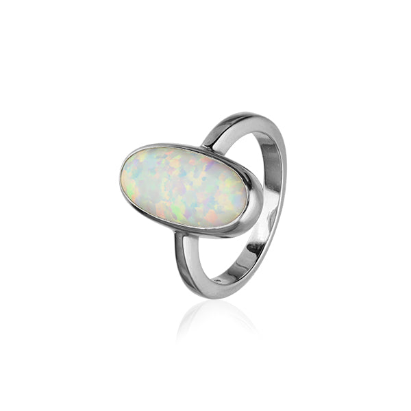 Sahara Sunset Silver Ring SR171 White Opal