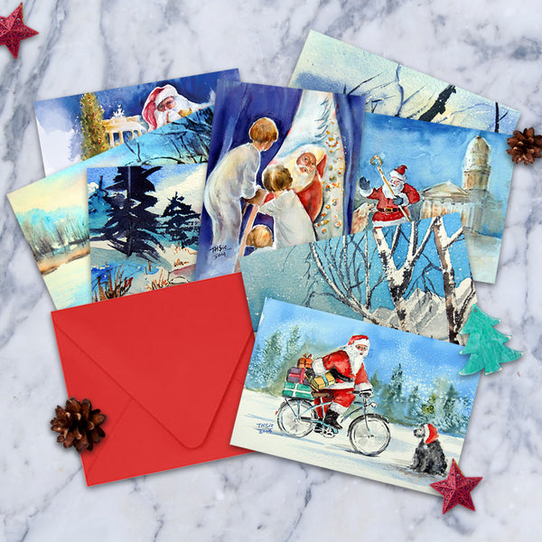 Watercolor Christmas Cards.Watercolor Christmas Cards Set Of 8