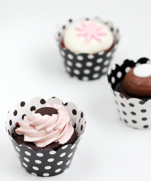 Polka Dot Cupcake Wrappers Reversible Black & White