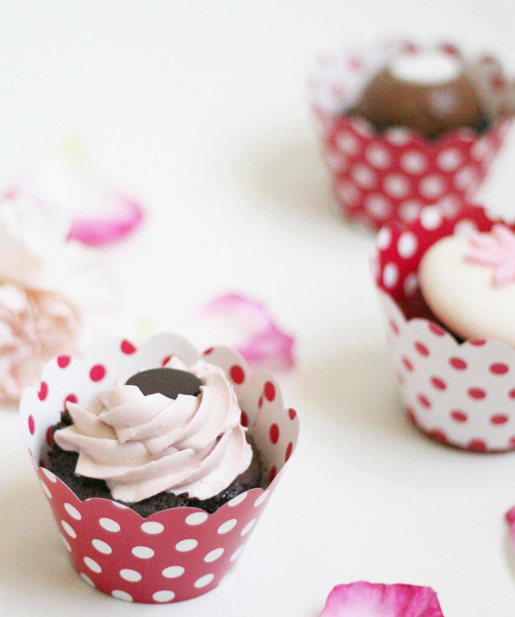 Polka Dot Cupcake Wrappers Reversible Red & White