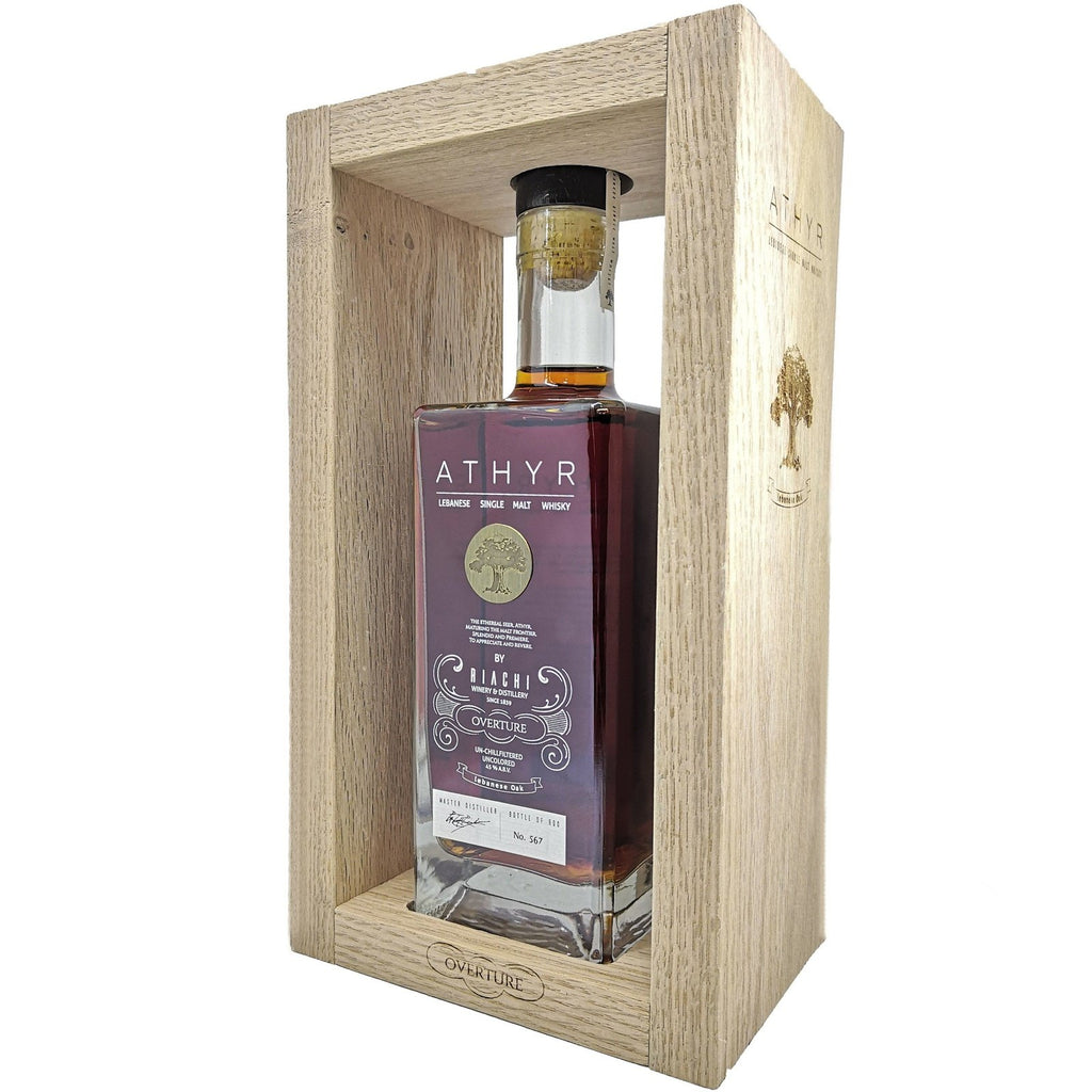 Riachi ATHYR Ouverture Lebanese single malt whisky - in a wood frame