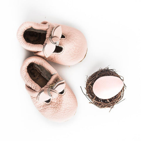 Bow T Strap Shoes - Rose Blush