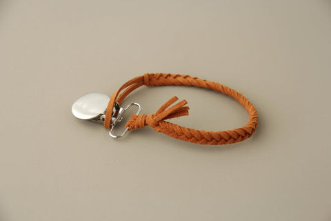 Braided Leather Pacifier Holder - Rust