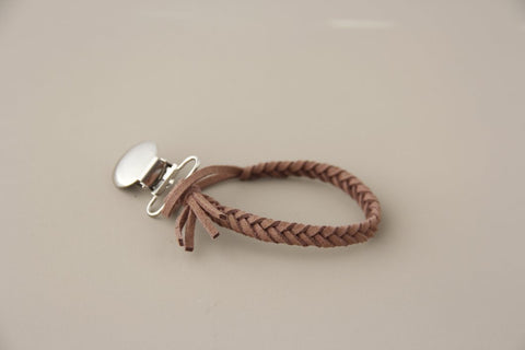 Braided Leather Pacifier Holder - Woodchuck
