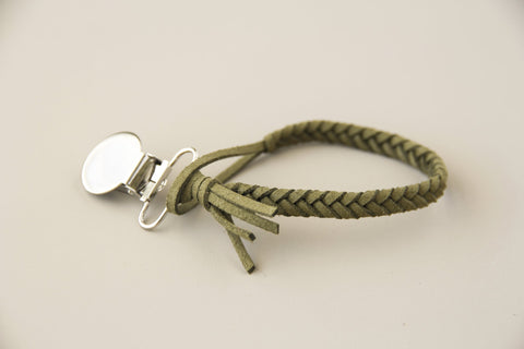Braided Leather Pacifier Holder - Moss