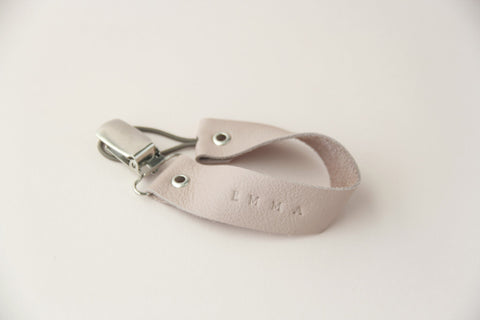 Leather Pacifier Holder - Blush