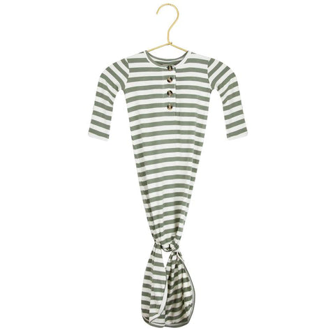 Morgan Knotted Gown - Sage Green + Natural Stripe