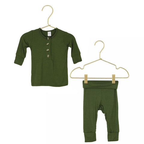 Riley Top + Bottoms - Olive Green