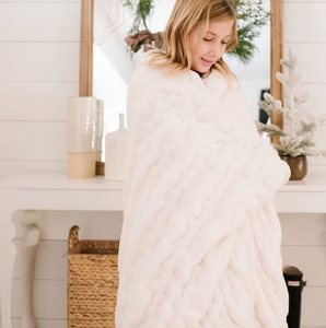 Snow Ruched Minky Blanket - Home Throw
