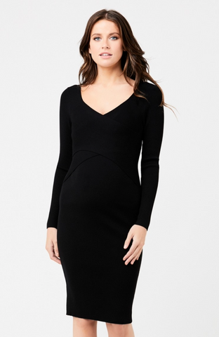 Sadie Rib Knit Nursing Dress - Black