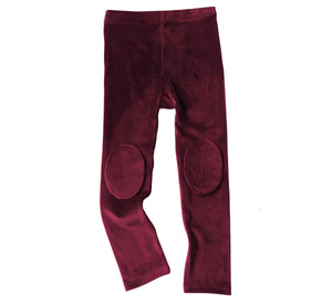Velvet Knee Patch Leggings - Plum