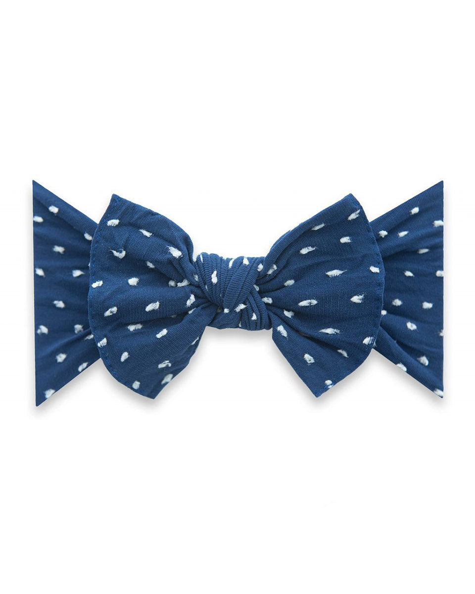 Patterned Knotted Headband - Navy Dot