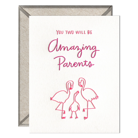 Flamingo Parents - Greeting Card