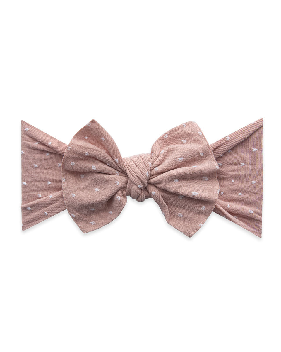 Patterned Knotted Headband - Mauve Dot