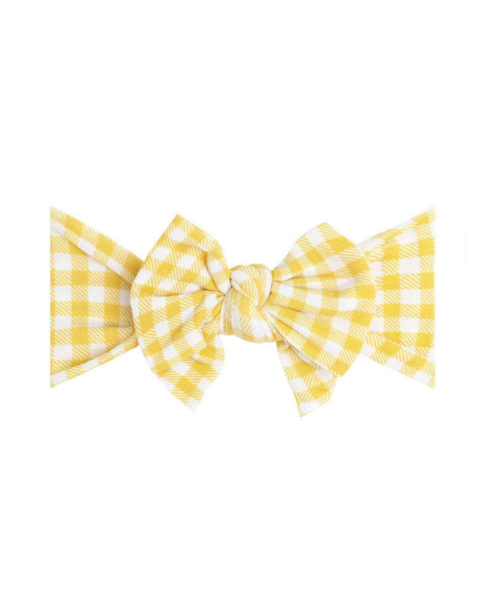 Printed Knotted Headband - Mustard Gingham
