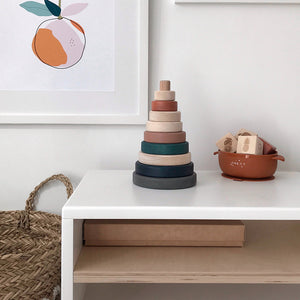 Wooden Ring Stacker - Terracotta