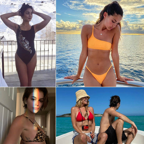 celebrities in bikinis and one piece