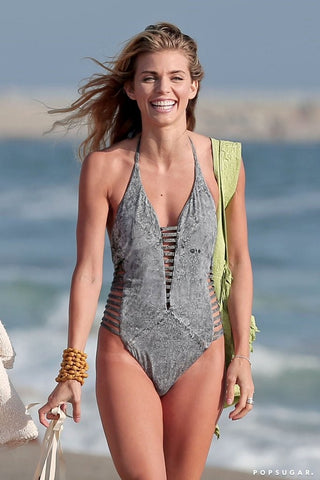 Deep V-Neck One-Piece-Swimsuit
