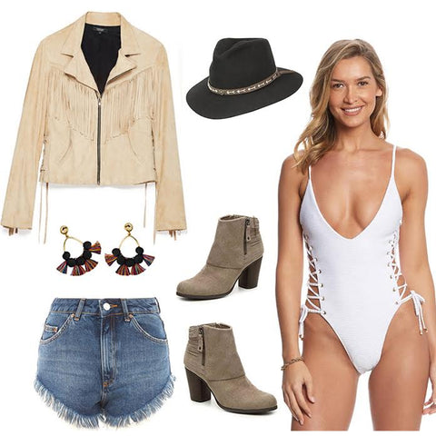 Hippie one-piece + Ripped shorts + Long light jacket