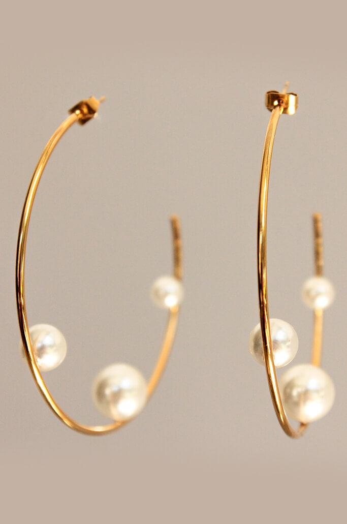 Jumbo Pearl Hoops Earrings
