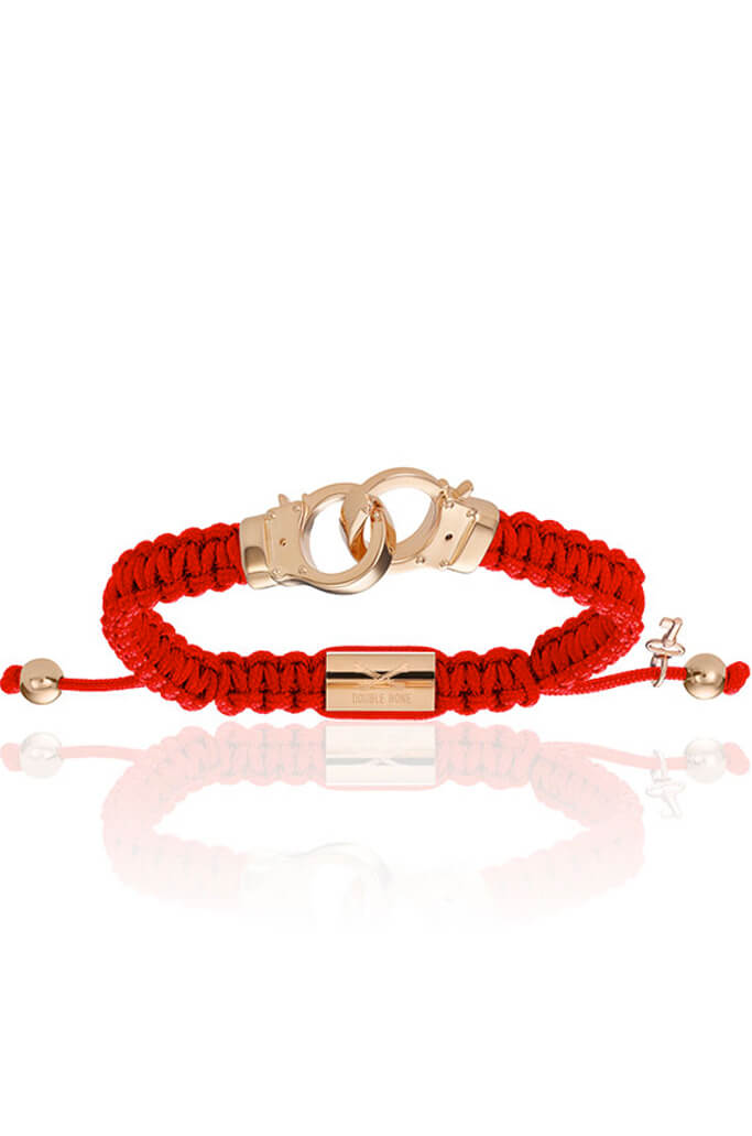 Red Nylon Pink Gold Handcuff S/M