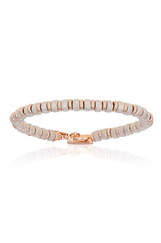 Silver With Pink Gold Big Beaded - S