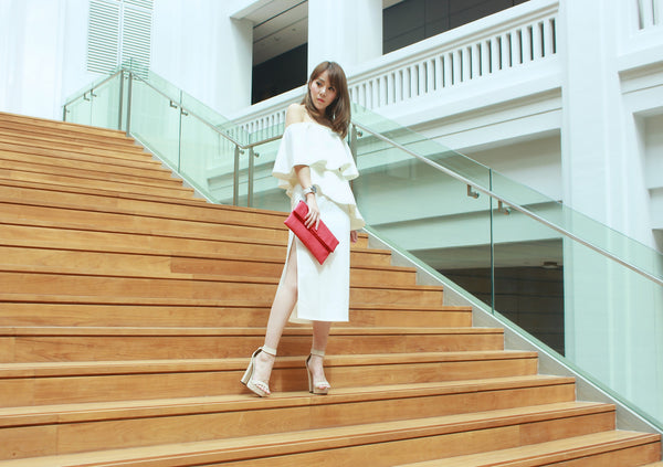 [S L A T E by TACT]<br>Drue Side Slit Midi Skirt <br>(WHITE)<br> (Premium x Exclusive)