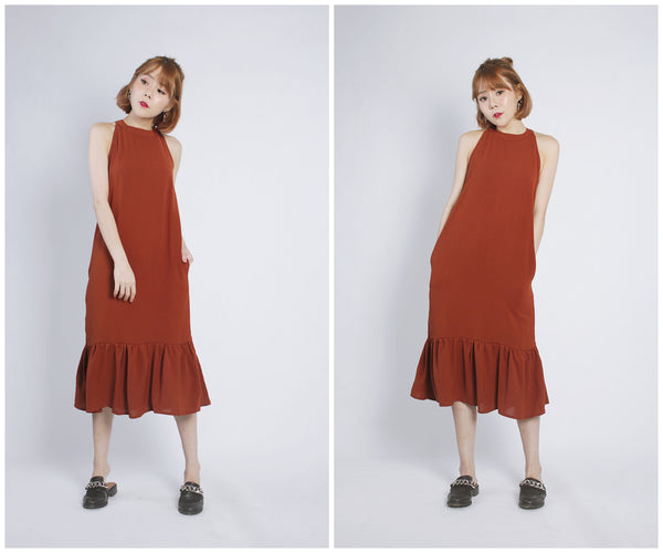 Inez Dress (Brick Red)