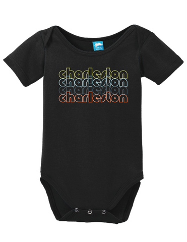 Charleston South Carolina Retro Onesie Funny Bodysuit Baby Romper