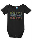 Chicago Illinois Retro Onesie Funny Bodysuit Baby Romper