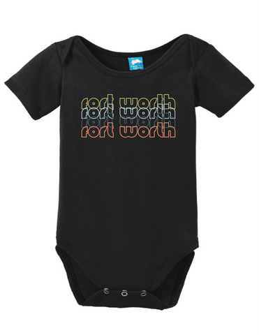 Fort Worth Texas Retro Onesie Funny Bodysuit Baby Romper
