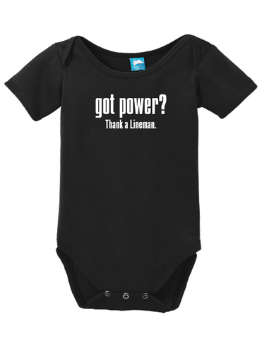 Got Power Thank A Lineman Onesie Funny Bodysuit Baby Romper