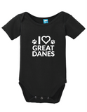 I Heart Great Danes Onesie Funny Humorous Infant & Toddler Bodysuit Baby Romper
