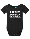 I Heart My Boston Terrier Onesie Funny Bodysuit Baby Romper