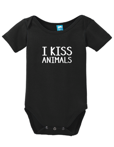 I Kiss Animals Onesie Funny Humorous Infant & Toddler Bodysuit Baby Romper