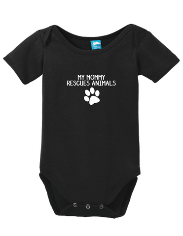 My Mommy Rescues Animals Onesie Funny Humorous Infant & Toddler Bodysuit Baby Romper