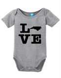 North Carolina Love Onesie Funny Bodysuit Baby Romper