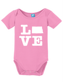 North Dakota Love Onesie Funny Bodysuit Baby Romper
