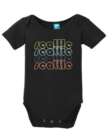Seattle Washington Retro Onesie Funny Bodysuit Baby Romper