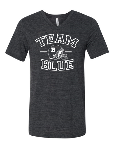 Team Blue Football Gender Reveal 3005 Premium V-Neck T-shirt Slogan Humorous T