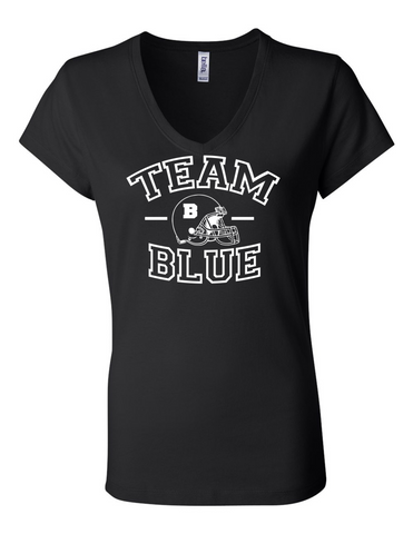 Team Blue Football Gender Reveal 6005 Womens Premium V-Neck T-Shirt Humorous T